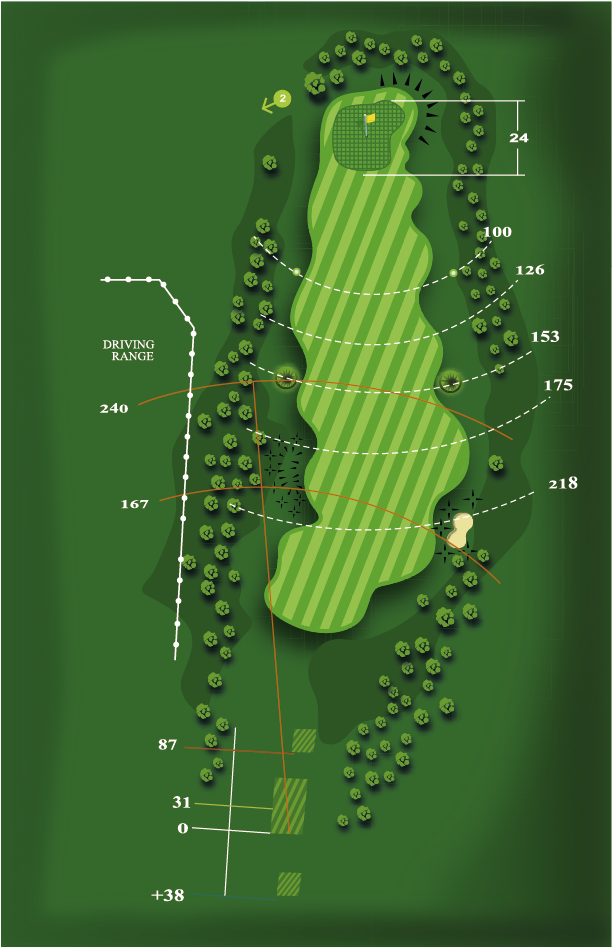 Yardage plan for Hole 1