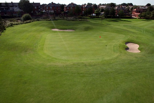 View of the 6th green from above