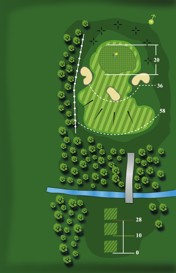 Yardage plan for Hole 13