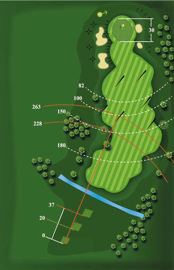 Yardage plan for Hole 15